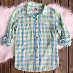 The North Face Plaid Button Up Hiking Outdoor Top